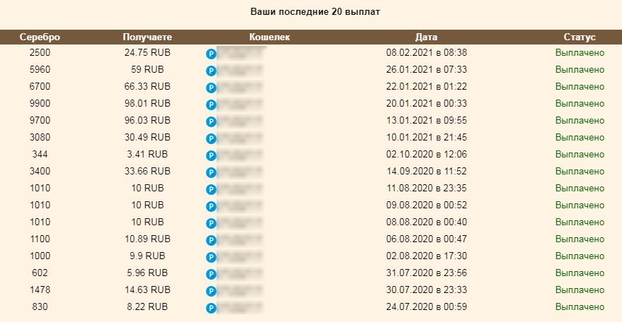 Скриншот выплат супербердс