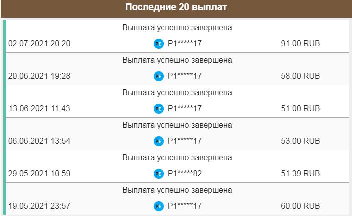 Скриншот выплат профит бирдс