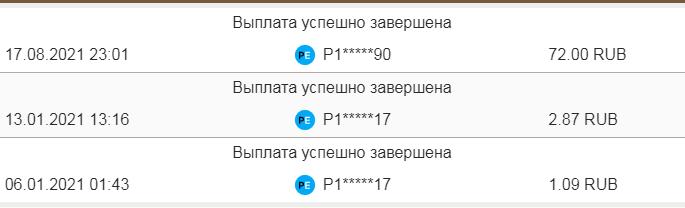 Скриншот выплат монейбирдс